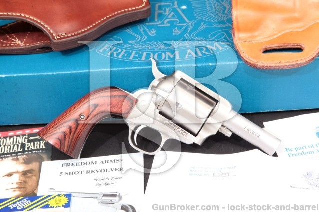 "Freedom Arms 83 Premier Grade Packer .44 Magnum Stainless 3"" Single Action Revolver & Box, 1996"
