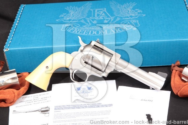 "Freedom Arms 83 Premier Grade Stainless 4.75"" .454 Single Action Revolver & 3 Cylinders: 45 ACP, Colt"