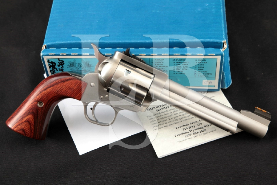 Freedom Arms FA Model 1997 M97 M-97 Premier Grade, Sharp Stainless Steel 5 ½ 6-Shot, SA Single Action Revolver, Box & More