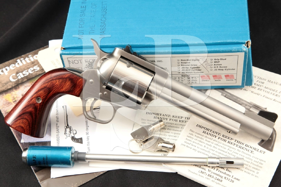 """Freedom Arms Model 1997 97 Premier Grade, Bright Brushed Stainless 5 1/2"""" 6-Shot, SA Single Action Revolver, Box & More"""