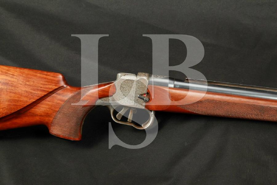 """German H&H Zehner Single Shot Rifle in LH Left Handed Stock & 25 ¾"""" Barrel MFD 1958, Single Set Trigger, Engraved, C&R"""
