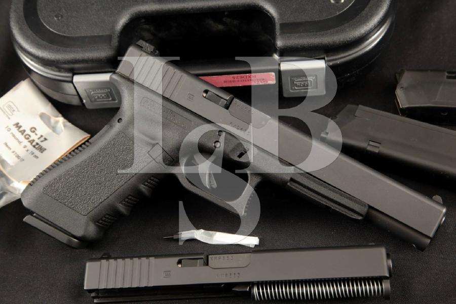 "Glock Model 17L G17 Generation 3 Sport/Service Competition, Matte Black & Polymer 6.02"" Semi-Automatic Pistol, 4 Mags, Extra Slide & Case"