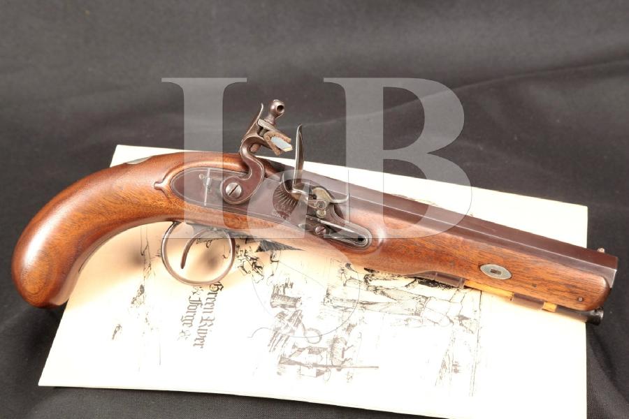 "Green River Forge Reproduction, Hudson Bay Factor's Pistol, Brown 7"" Flintlock Pistol & Belt Hook, MFD 1975 ATF Antique"
