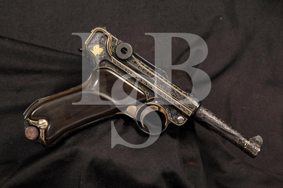 Hand Engraved & Gold Inlaid DWM Luger P.08 .30 Cal Semi Auto Pistol C&R
