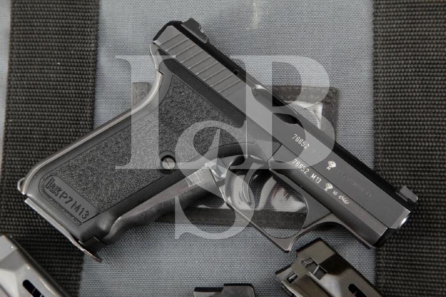 "Heckler & Koch H&K HK Model P7M13 P7-M13, Blue 4.10"" RARE Semi-Automatic Pistol, 4 Mags & Case MFD 1986"