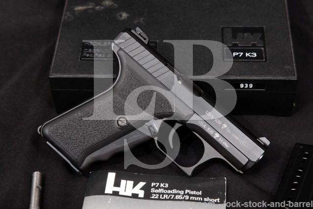 """Heckler & Koch H&K HK P7K3 P7-K3 USA Sn .380 ACP Blue 3.8"""" Squeeze Cock Semi Auto Pistol & Box 1987"""
