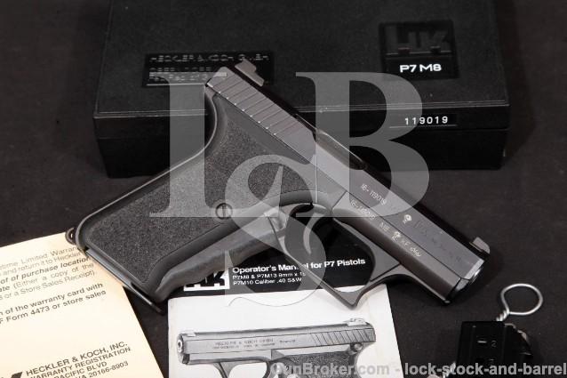 "Heckler & Koch HK H&K P7M8 P7-M8 4"" Squeeze Cocker 9mm Luger Blue 4"" Semi-Auto Pistol & Box, MFD 1995"