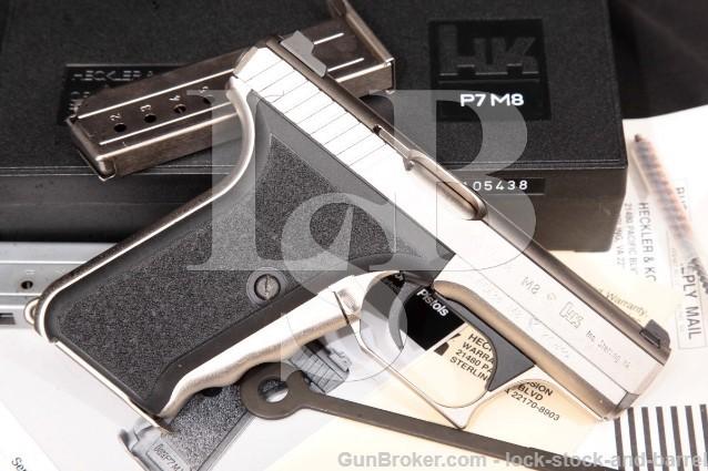 Heckler & Koch Hk H&K P7M8 P7-M8 Nickel 9mm Squeeze-Cocking Semi-Auto Pistol & Box, 1992