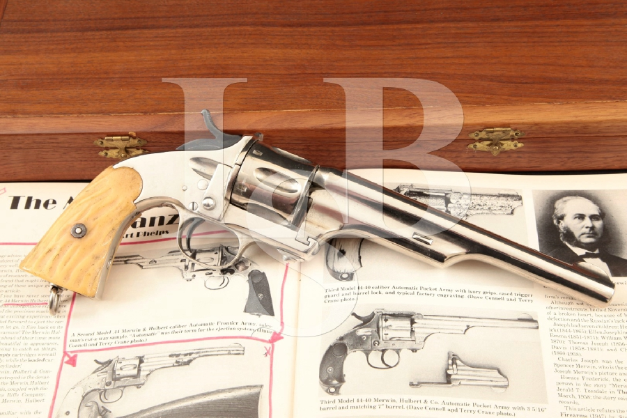 "Hopkins & Allen / Merwin Hulbert Large Frame 1st Model, Nickel 7"" SA Revolver, Horn Grips & Case MFD 1877-78 Antique"