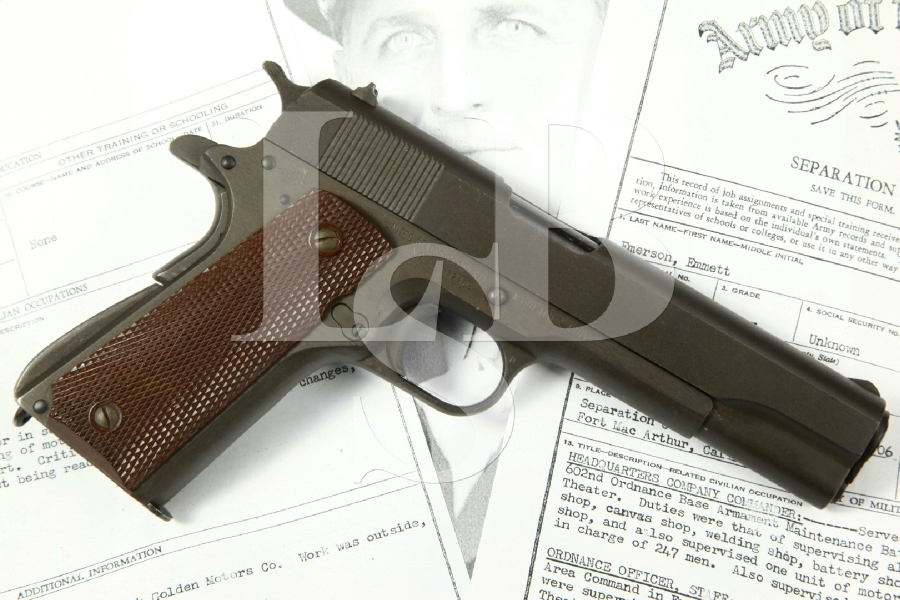 "Identified WWII Remington Rand Model 1911-A1 M1911A1, Parkerized 5"" Bringback SA Semi-Automatic Pistol, MFD 1944 C&R - .45 ACP"