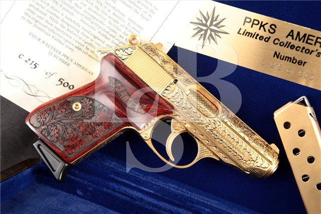 "Interarms Walther PPK/S, Gold 3"" .380 ACP Pistol American Limited Collector Series #215 of 500"