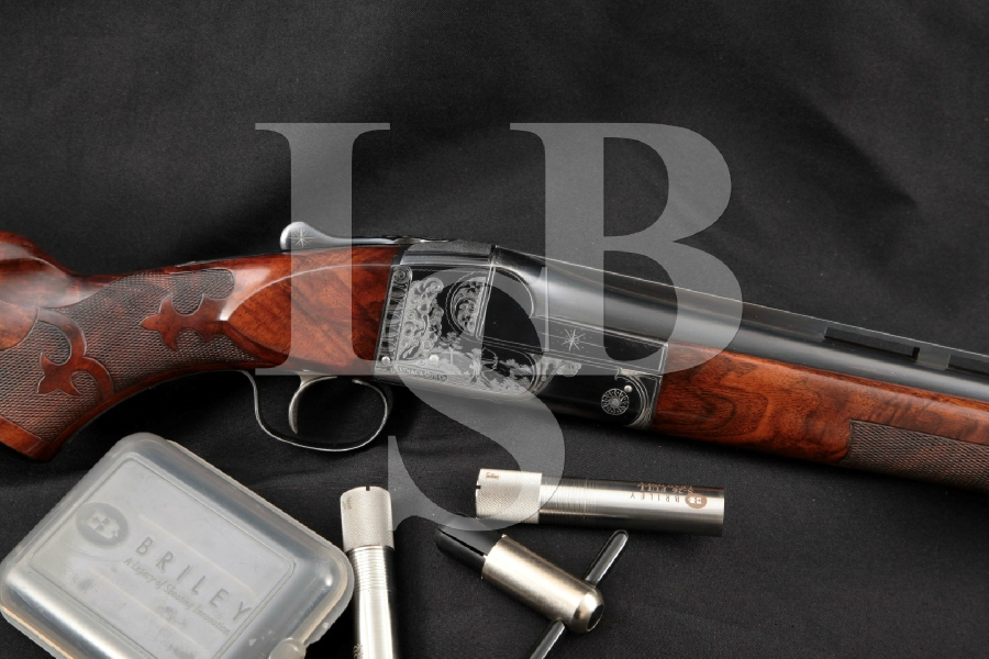 "Ithaca Gun Co. Model Knick Grade 4-E 4E Trap, Briley Choked, Engraved Blue 32"" Single Shot Shotgun & 3 Chokes, MFD 1948 C&R"