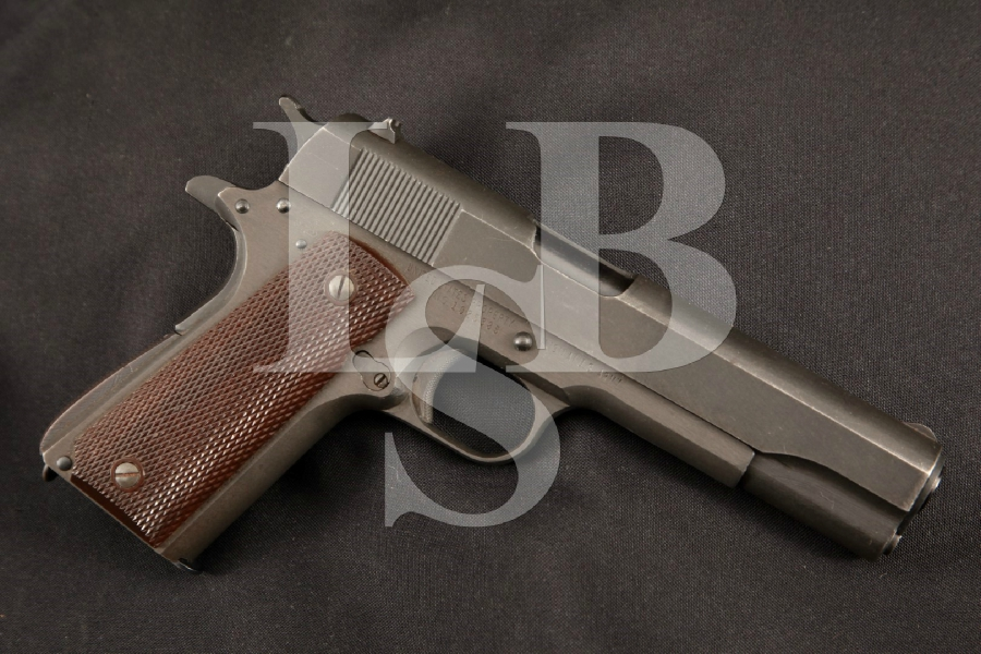 "Ithaca / Remington Rand Model M1911A1 1911-A1, Parkerized 5"" WWII SA Semi-Automatic Pistol, MFD 1943 C&R"