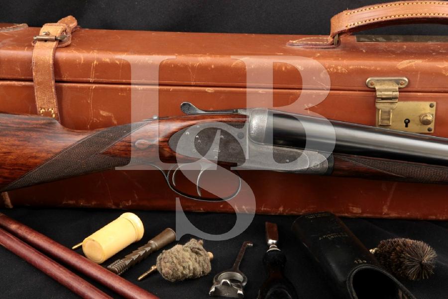 "James Purdey & Sons Internal Hammer Whitworth Steel, Engraved Blue & Case Colored 29"" FINE Side by Side SXS Shotgun & Case, MFD 1913 C&R"