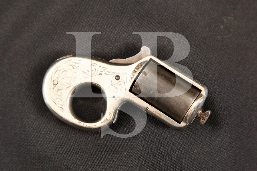 "James Reid 'My Friend' Knuckle Duster Pocket Pistol, Silver Plated 1 ½"" 7-Shot, Single Action Revolver, MFD 1880 Antique"