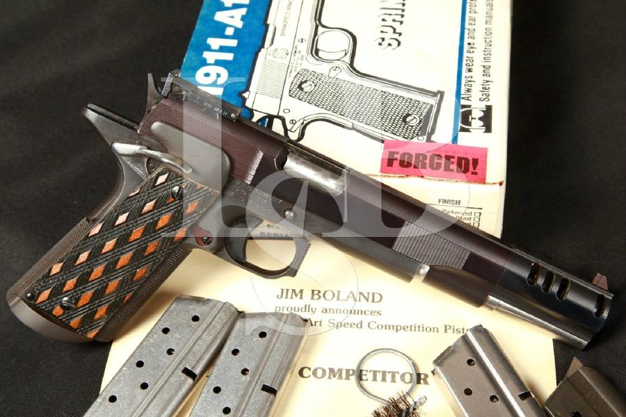 "Jim Boland Custom Springfield 1911-A1 IPSC Race Gun 5"" Blue SA Semi-Automatic Pistol, Compensator & Box"