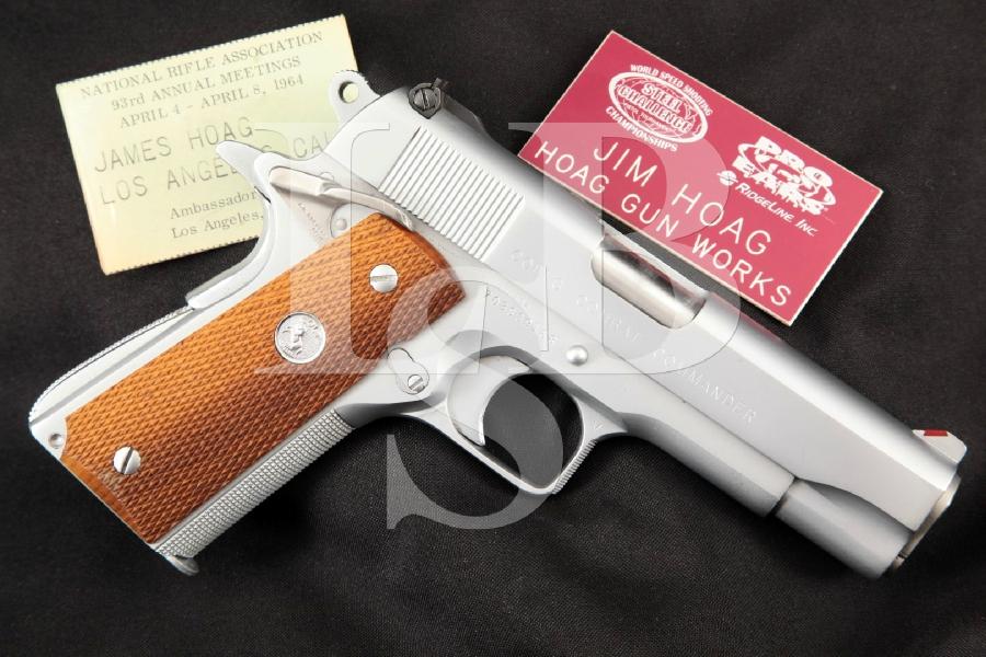 "Jim Hoag Custom Colt Model Series 70 1911 Combat Commander, Hard Chrome 4 ¼"" SA Semi-Automatic Pistol & Name Tags, MFD 1976"