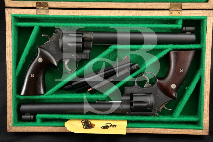 "Jim Hoag Custom Silhouette Pair of Smith & Wesson S&W Model 29-2 & Pre-27, Matte 9 3/4"" Incredible Double Action Revolver Set"