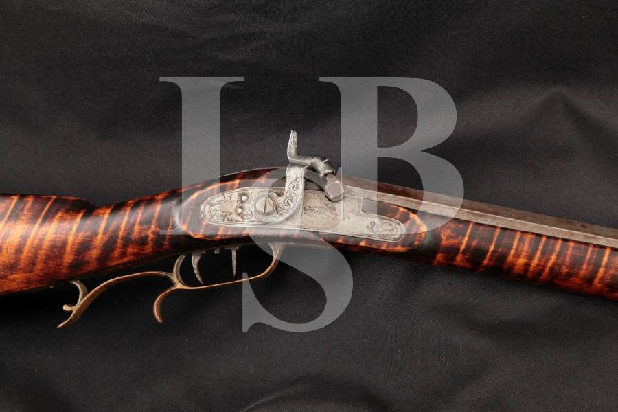 "Joseph Ax / Golcher Marked Kentucky / Pennsylvania Double Set Trigger Percussion Long Gun, Brown 36"" Single Shot Percussion Rifle, Mid 1800's Antique"