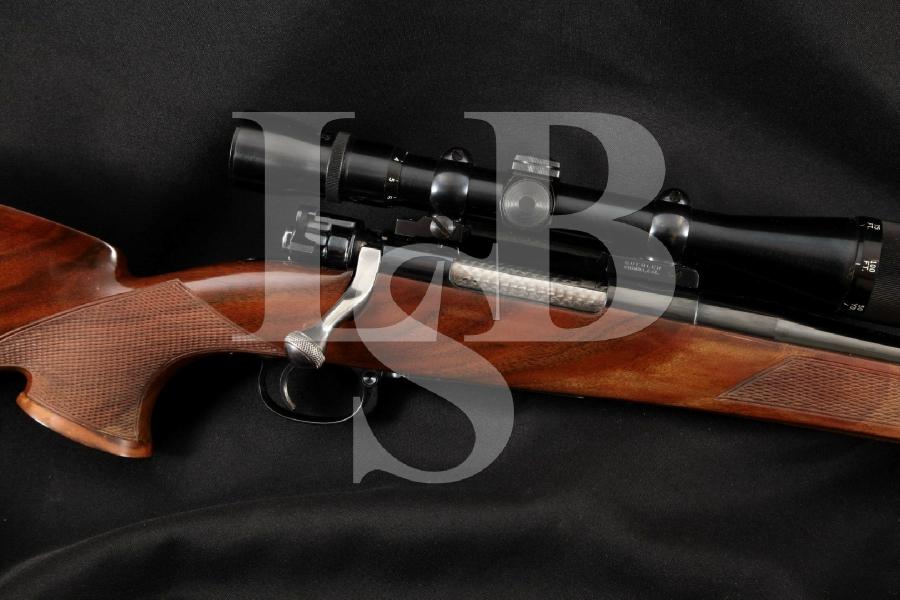 """Keener Gun Works Custom Mauser Model K98, Fancy Checkered Stock, Blue 24 5/8"""" Bolt Action Hunting Rifle & Scope, MFD 1955-1973"""
