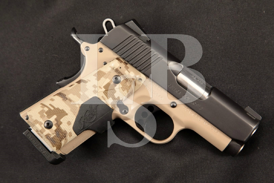 Kimber Custom Shop Ultra Covert II Compact 1911, Black & Tan 3 SA Semi-Automatic Pistol & Digi-Camo Laser Grips