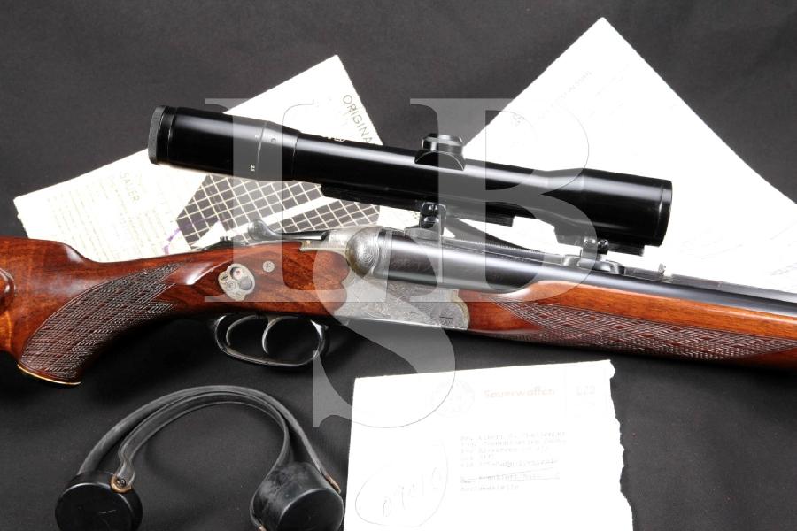 """Left Handed J.P. Sauer & Sohn Model 3000 Luxury Grade, 23 11/16"""" X-Bolt Drilling & Zeiss Diavari Scope MFD 1965 C&R"""