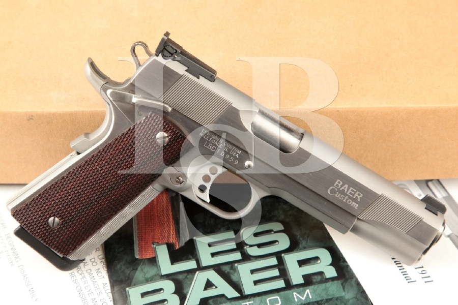 Les Baer Custom Concept V (Like Colt 1911), Sharp Stainless Steel 5 Semi-Automatic Match Grade Pistol & Box, MFD 2000