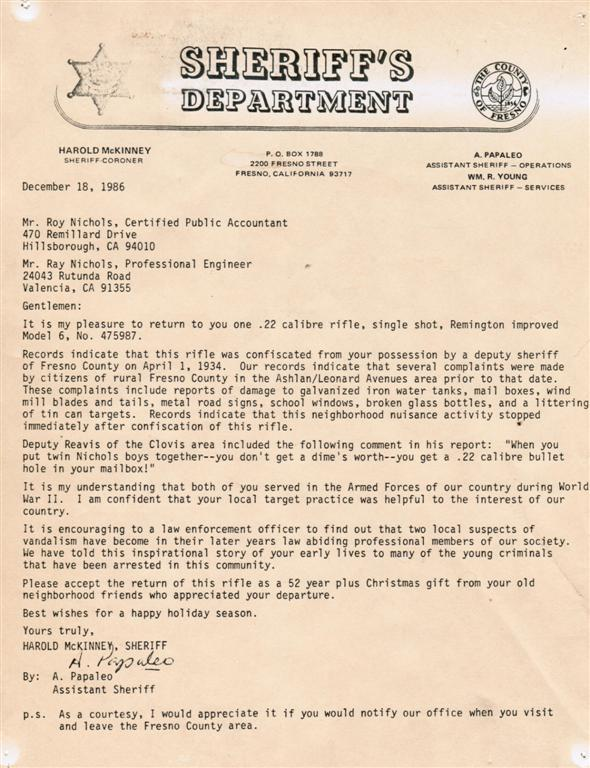 Nichol's Boys Letter - The Long Lost Remington That Came Home