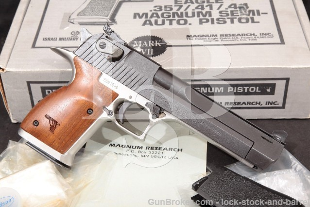 "Magnum Research IMI Desert Eagle Mark I .44 Mag Blue & Stainless 6 3/8"" Semi Auto Pistol 1988-1995"