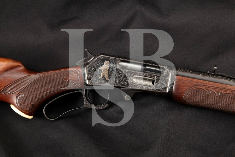 """Marlin Model 336RC 336-RC Carbine, Engraved with Carved Stock & Gold Inlays, Blue 20"""" Lever Action Tube Fed Rifle, MFD 1954 C&R"""