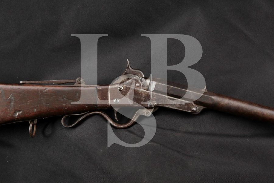 "Massachusetts Arms Co. Maynard Carbine 1st Model (Name Carved Stock), Brown 20"" Single Shot, Percussion Rifle, MFD 1858-59 Antique"
