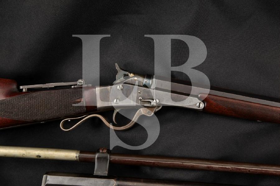 "Massachusetts Arms Maynard 1873 Deluxe Target Model & Extra .22 Barrel, Blue & Case 25 3/4 & 28"" Single Shot Rifle & Scope, MFD 1870's Antique"