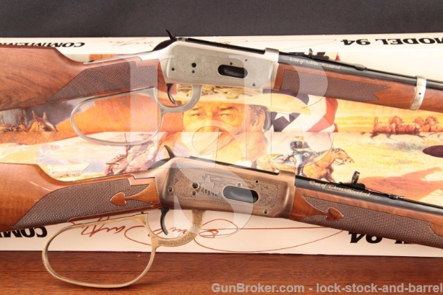 Matched Pair Winchester Model 94 John Wayne .32-40 1 of 300 Lever Action Rifles, Box, Scabbard & Case