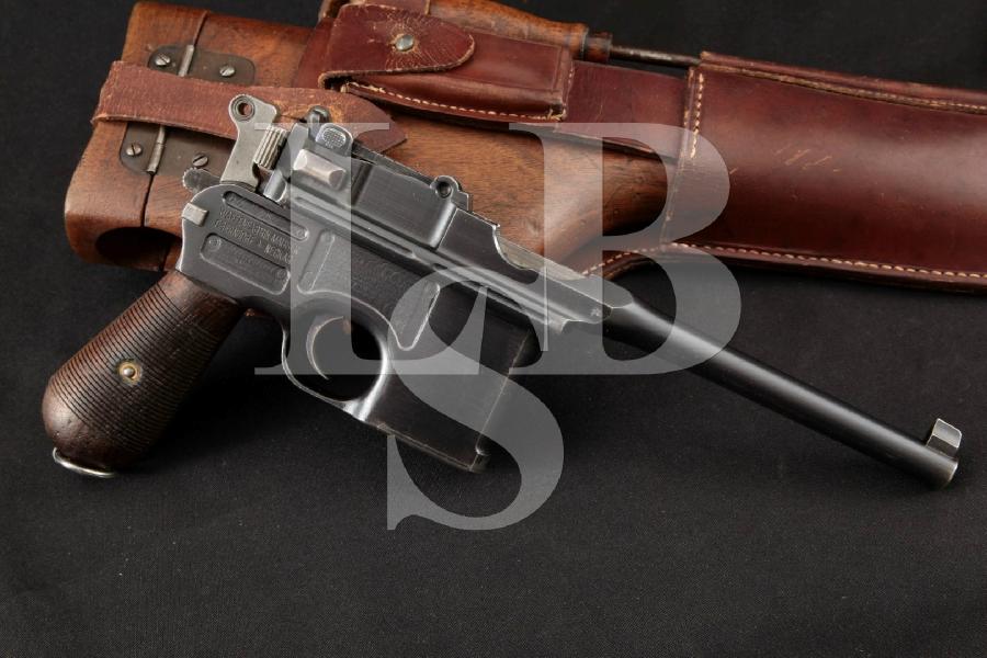 "Mauser C96 Broomhandle Standard Wartime Commercial Model, Restored Blue 5 ½"" Semi-Auto Pistol & Wood Holster MFD 1915-21 C&R"