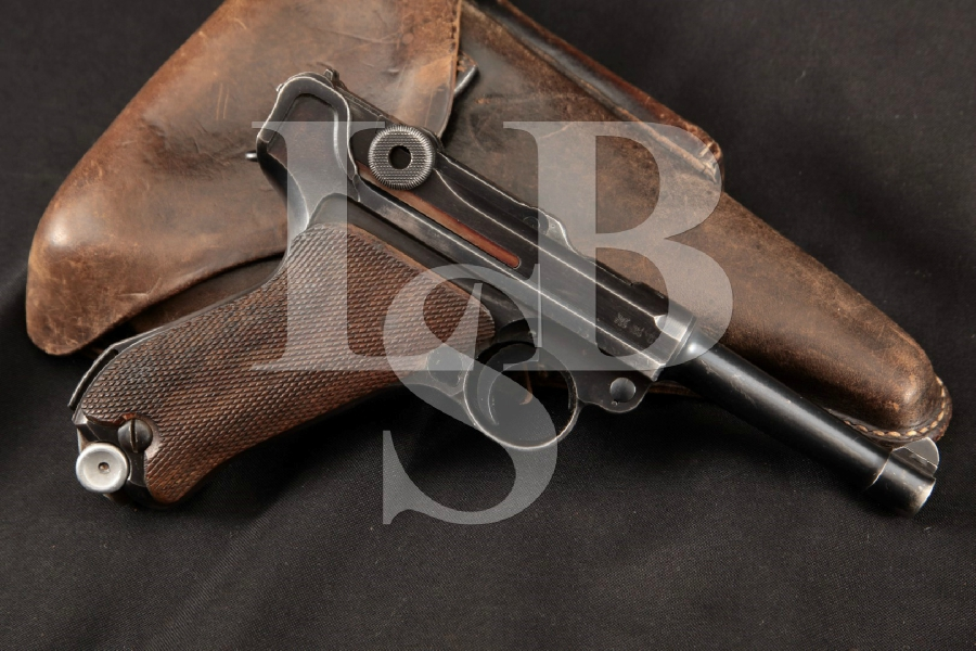"""Mauser Model 1934 42 Luger P.08, Nazi Marked, Parts Matching, Blue 4"""" WWII Semi-Automatic Pistol & Holster, MFD 1940 C&R"""