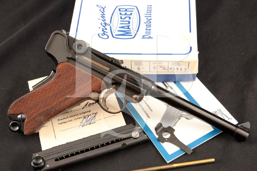 "Mauser-Werke Model American Eagle Luger P08 P-08, Scarce Sharp Blue 6"" Semi-Automatic Pistol & Box, MFD 1970's ATF C&R"