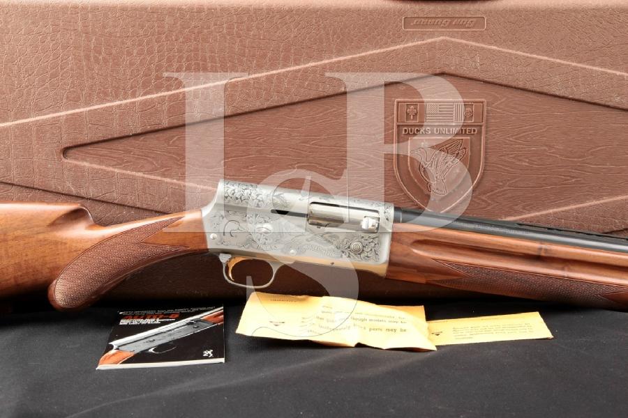 Miroku Browning Model Auto 5 A5 A-5 Ducks Unlimited DU Sweet Sixteen Oishi Engraved, Blue & Coin Finished 26 In. 16 Ga. Semi-Automatic Shotgun, Hard Case & , MFD 1988