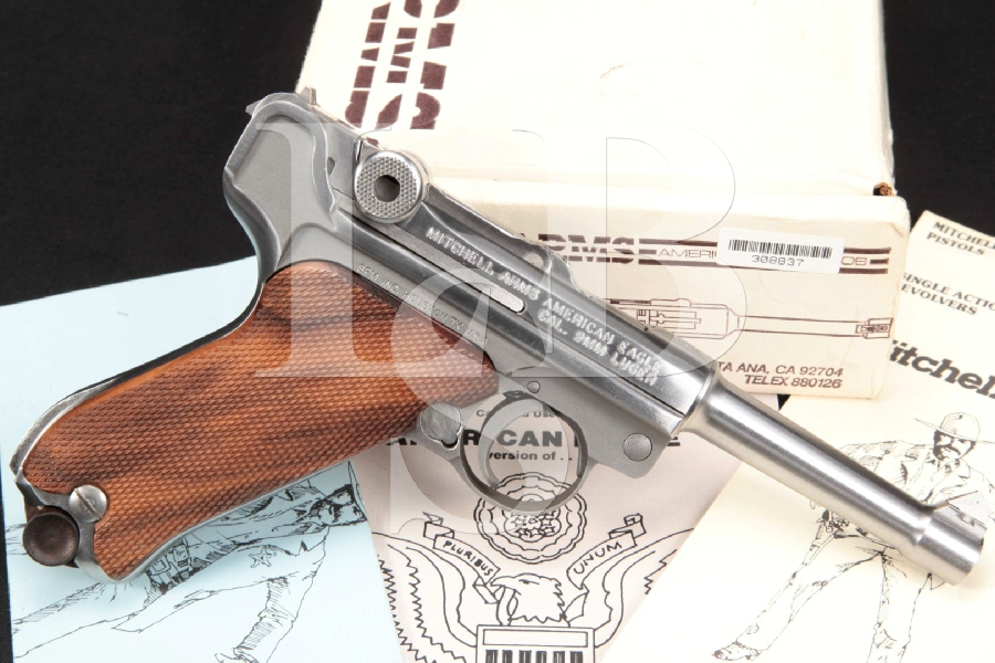 "Mitchell Arms Model American Eagle Luger, Stainless Steel 4"" Semi-Automatic Pistol & Factory Box, MFD 1993"
