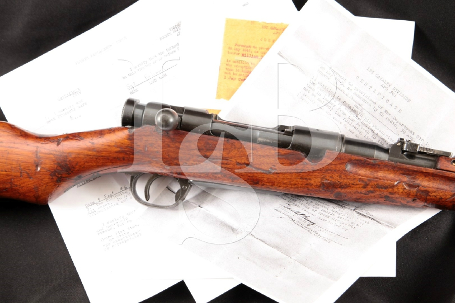 "Nagoya Arsenal Japanese Arisaka Type 38 Carbine + Capture Paperwork, Non-Import, Blue 19"" WWII Bolt Action Military Rifle, MFD 1905-1945 C&R"
