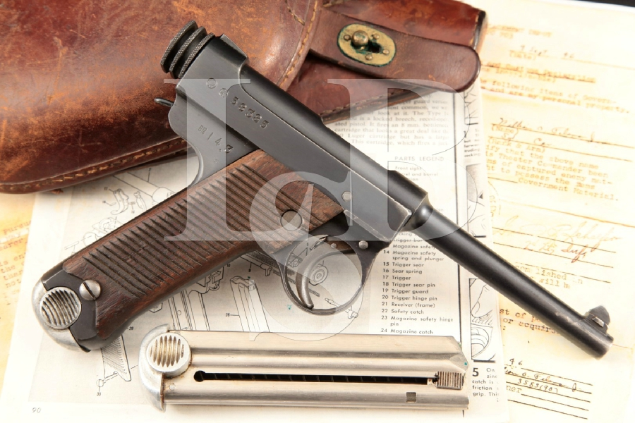 Nagoya Kokubunji 1st Run Type 14, Documented WWII Bringback, Blue 4 5/8 Semi-Automatic Pistol, Holster & More MFD 1939 C&R