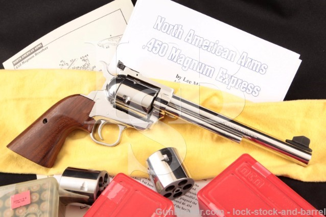 "North American Arms NAA .450 Magnum Express SA 45 7 1/2"" Single Action Revolver, 3x Cylinders & Ammo"