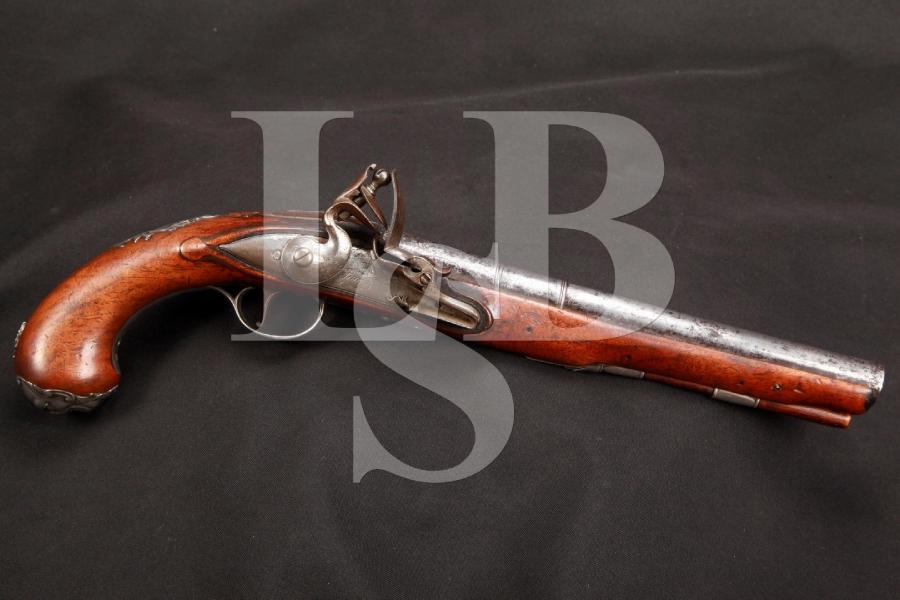 ORIGINAL 1767 MFD - Jones of Cornhill, London Sterling Sliver Fitted Flintlock Pistol, Antique