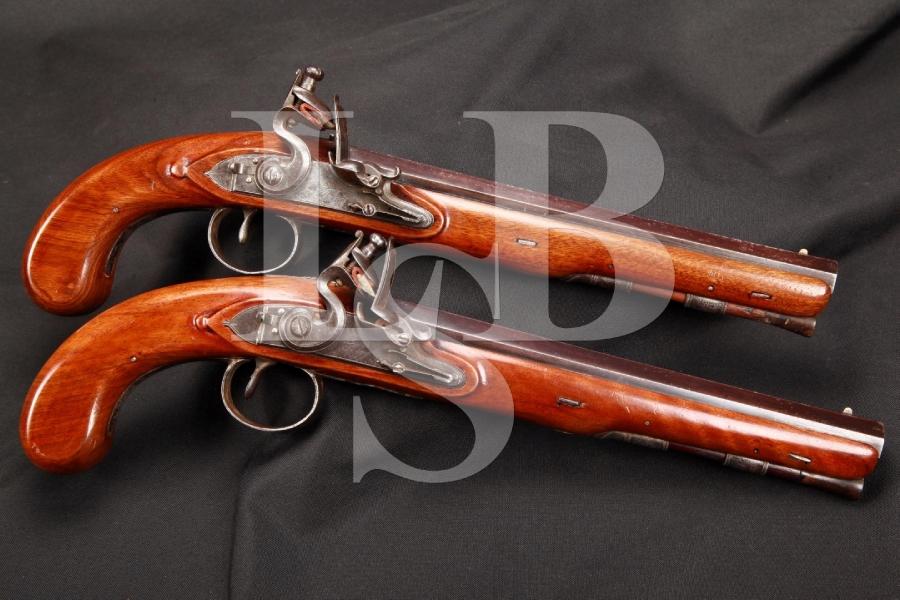 Pair of John Fox Twigg of London Flintlock Dueling Pistols Refinished Originals, MFD 1755-1788, Antique