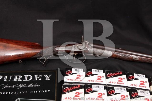 "Purdey Converted Under-Lever Double Rifle, .410 Blue 24"" SXS Shotgun, Shells & Book, 1868 Antique"