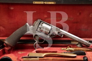 RARE Cased .36 Adams Tranter Percussion Double Action, Double Trigger Revolver, Antique