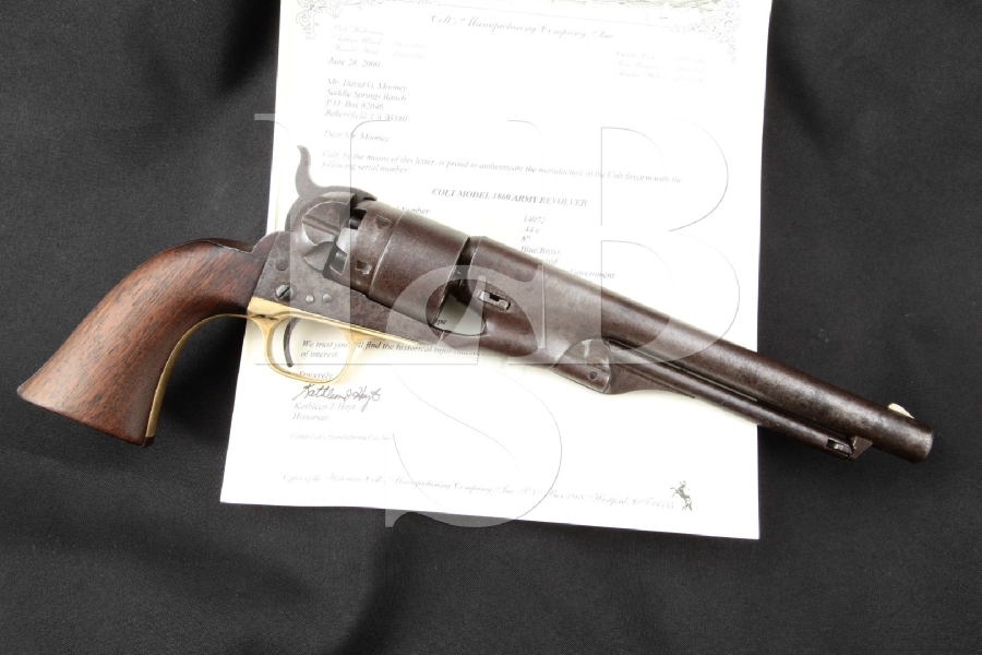 "RARE Colt Model 1860 Army, 1 of 300 Factory 8"" Single Action Percussion Revolver MFD 1861 Antique"