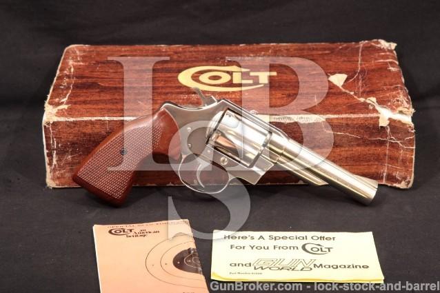 "RARE Colt Viper Model D6443, Nickel 4"" Revolver Double Action Revolver & Box, MFD 1978 .38 Special"