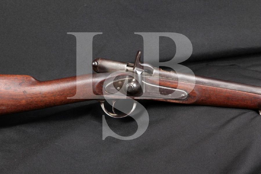 "RARE E.G. Lamson Model Palmer Bolt Action Civil War Carbine, External Hammer, Blue 20"" Singe Shot Rifle, MFD 1865 Antique"