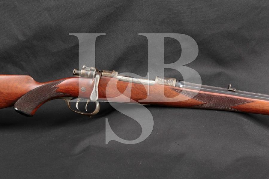 """RARE Emil Von Nordheim German Mauser, Horn Adornments, Engraved, Half Octagon Blue 22"""" Bolt Action Rifle, Mannlicher Stock, MFD Pre WWII"""