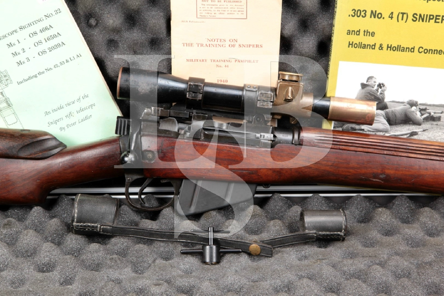 "RARE Enfield (Holland & Holland) No4 Mk1 (T) Sniper Rifle & Scope, Black 25"" Import Marked Bolt Action Rifle, MFD 1944 C&R"